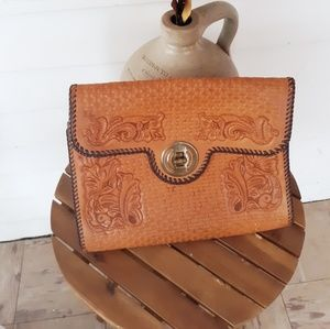 Vtg 70's Leather Tooled Clutch Bag